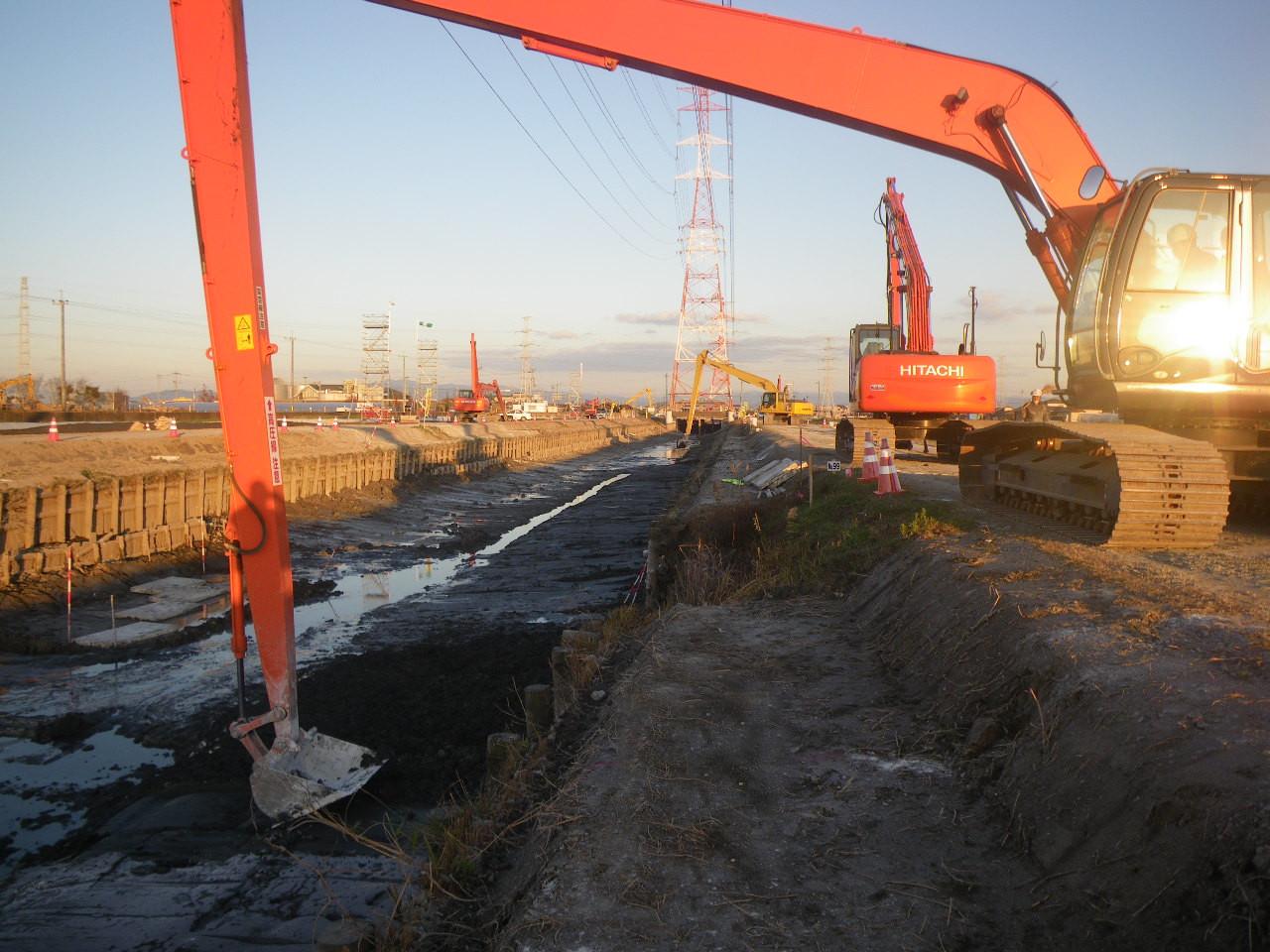 河床および堤防の石灰改良