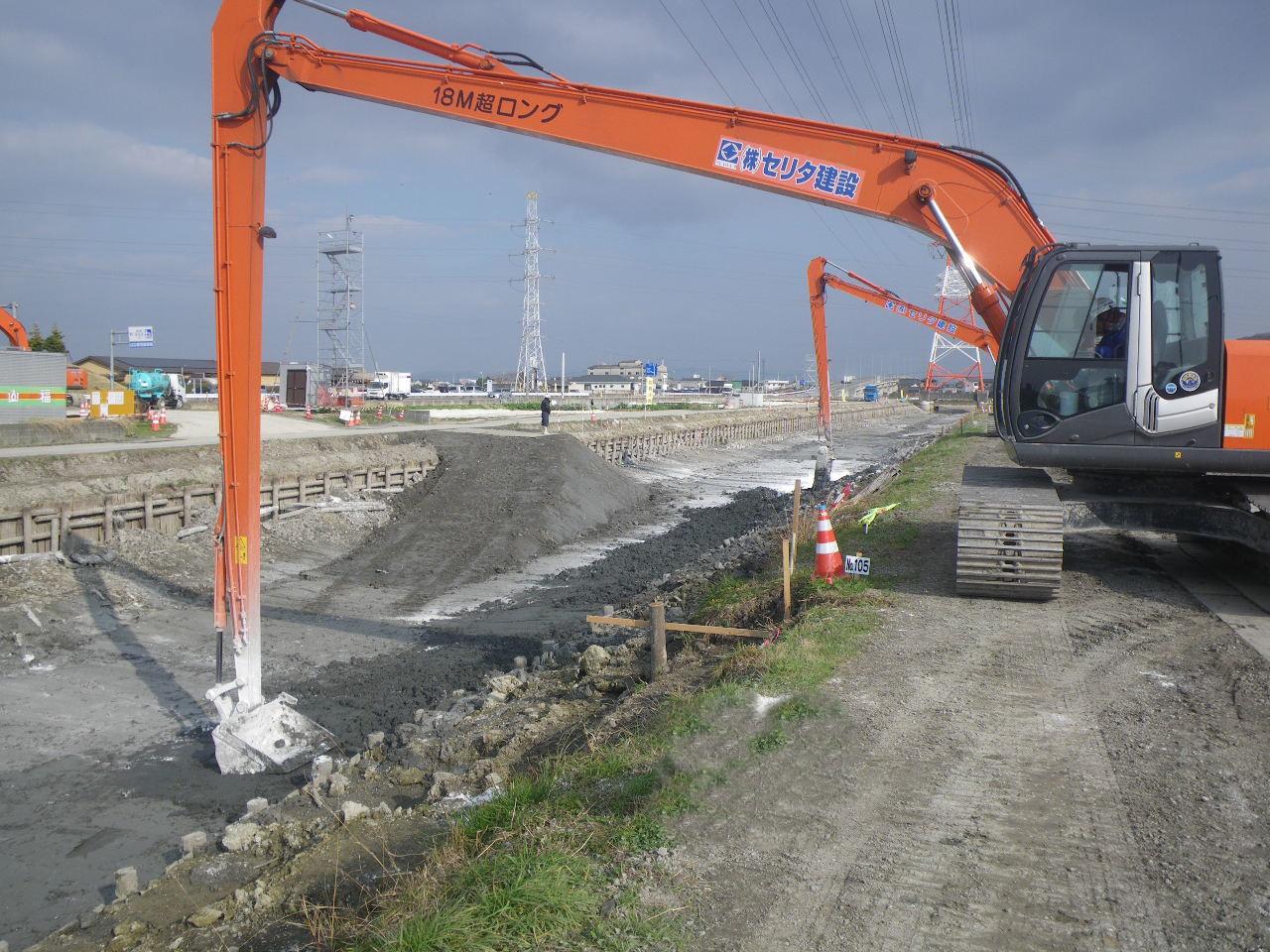 セメントによる河床の表層地盤改良